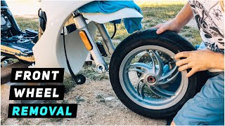 8. 2013+ Piaggio Fly - Front Wheel Removal