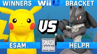 This Super Smash Bros. 4 Wii U tournament match features ESAM as Pikachu vs HelpR as Lucario. This Winners Bracket match at SMASHADELPHIA 2017 was livestreamed on 06/24/17.Enjoy the video? Hit the like button and drop a comment and let us know your favorite part. Share it with your friends and spread the hype!Check out our website:► http://clashtournaments.comWatch our live streams:► http://twitch.tv/clashtournaments► http://hitbox.tv/clashtournamentsFind us on social media:► http://facebook.com/clashtournaments► http://youtube.com/clashtournaments► http://twitter.com/clashtournament► http://instagram.com/clashtournamentsBe sure to Follow and Subscribe to us to keep up to date on all of our content. Click the bell next to the subscribe button to receive instant notifications on all uploads!