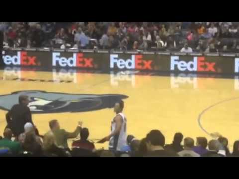 VIDEO: Memphis Grizzlies Mascot Powerbombs Obnoxious Wizards Fan Through Table