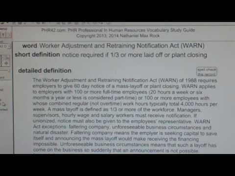 Worker Adjustment and Retraining Notification Act (WARN) of 1988 PHR SPHR HR Exam VocabUBee.com