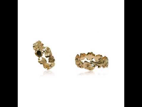 Modern design textured engagement & wedding rings