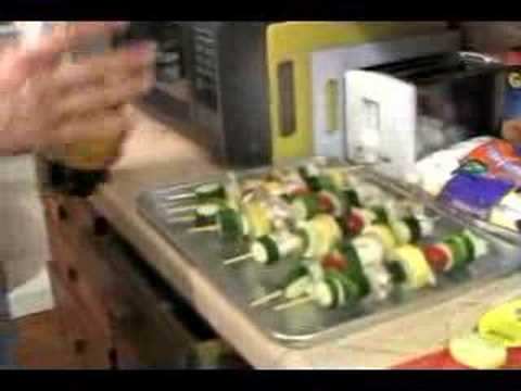 Making Open Fire Cooked Vegetable Kabobs : Adding All ingredients for Open Fire Vegetable Kabobs
