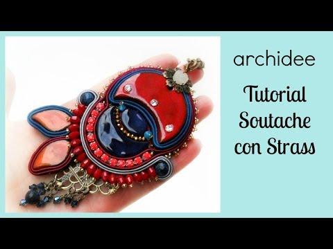 Soutache   Sutasz   Tutorial   Ciondolo con Catene Strass   Perla di Ceramica