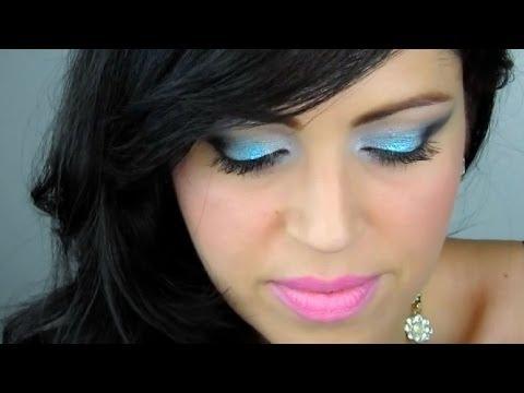 Maquillaje Prom para Graduación o Evento Especial - Azul Glitter Negro y Blanco