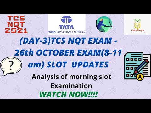 TCS nqt 2021 26th october exam analysis | 8-11 am shift