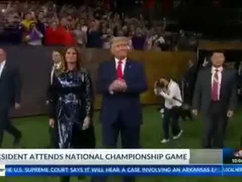 Rep. Mike Johnson catches a ride with President Trump to the National Championship game.