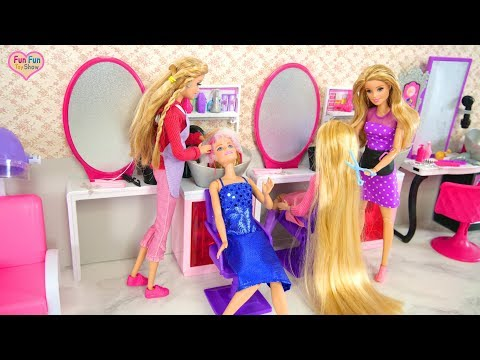 Barbie Sparkle Style Salon Unboxing Review Salon kecantikan boneka Barbie Salão de beleza