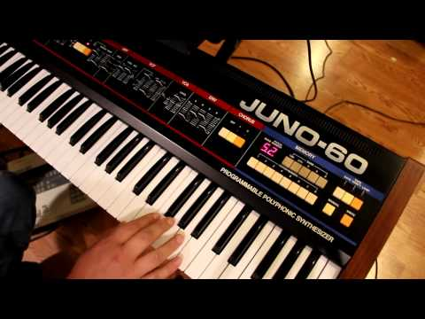 early electro - A demo of the versatility of the Roland Juno-60. The LinnDrum plays a typical early '80s Electro Funk pattern, and the Juno-60 provides Moog-style bass, Clav...