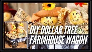 DIY Dollar Tree Buffalo Check Wagon - Farmhouse Decor - Fall, Christmas Any Season - Hayride Wagon