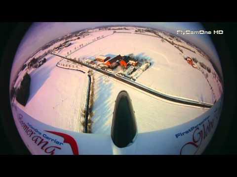 Weitwinkel Linse. - Boomerang GT with FlyCamOne HD 720p and 170° wideangle lens Verharschter Schnee mit einer feinen Pulverschneedecke erweist sich als ideale Start- und Landeba...