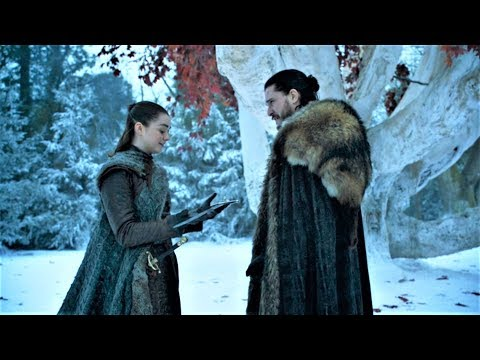 Game of Thrones 8x01 Jon Snow shows Arya the Valerian Steel Scene HD