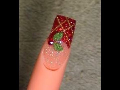 Acrylic Nails Tutorial – Christmas design #1 2010
