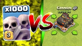 Video 1000 SKELETONS vs GEARED CANNON!! - Clash Of Clans MASS TROOP / TROLL GAME PLAY! MP3, 3GP, MP4, WEBM, AVI, FLV Oktober 2017