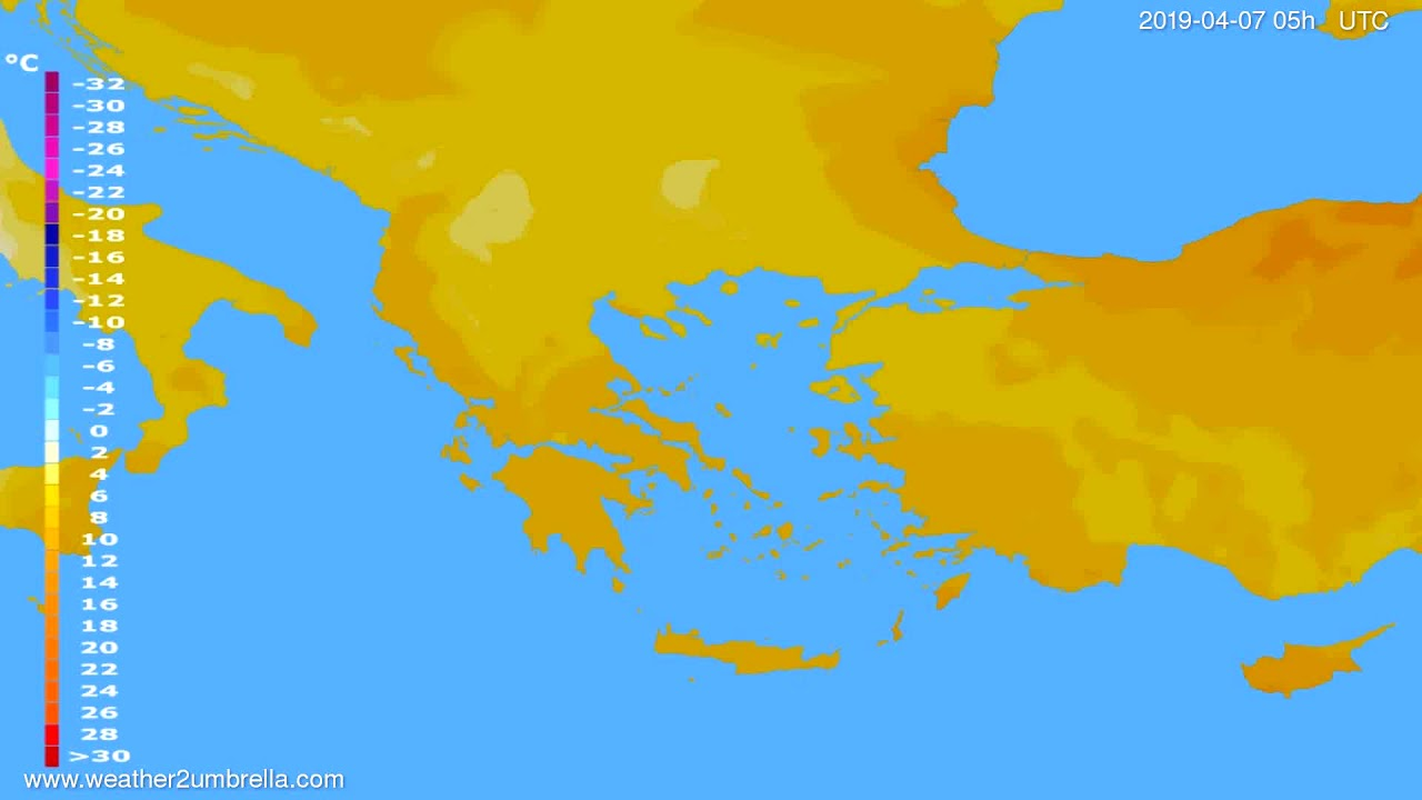 Temperature forecast Greece // modelrun: 12h UTC 2019-04-05