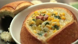 Corn Chowder In Mini Bread Bowls Recipe || KIN EATS