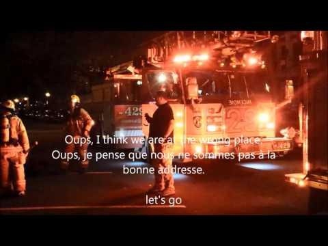 Fire trucks SIM 2080, 219M and 429 on-scene on Parthenais St. Service Sécurité incendie de Montréal.