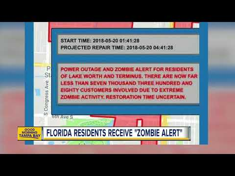 Florida city issues 'Zombie Alert' to residents during power outage (видео)