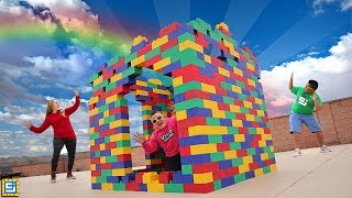 WORLD'S BIGGEST LEGO BOX FORT! BUILDING A GIANT LEGO HOUSE!