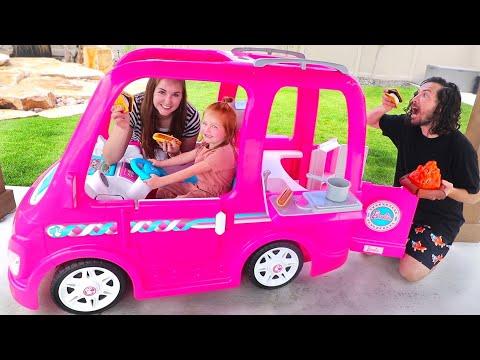 BARBIE DREAM CAMPER!! Adley Pretend Play with her first Power Wheels (backyard adventure routine)