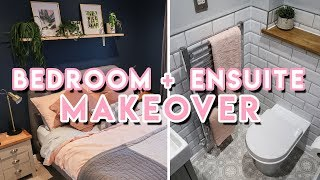 DIY Bedroom Makeover + En-Suite Bathroom Renovation 2019 | Dark Blue, Gold + Pink