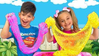 Sasha and compilation of Funny Stories with Slimes for kids