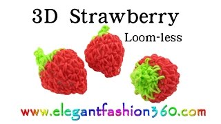 Rainbow Loom Strawberry 3D(Hook) - How To Loom Bands Tutorial Food Series