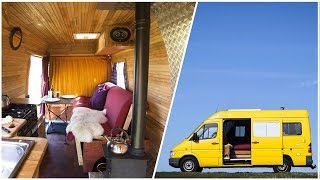 Rustic WOOD HEATED Van Conversion with FIVE SECOND bed system by Nate Murphy