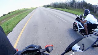 3. 2014 Yamaha FZ-09 vs 2006 GSXR 600 Race