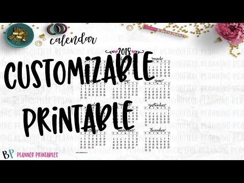 Customizable Calendar Printable