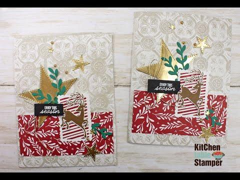 Stampin' Up! Festive Post Curvy Celebrations Frosted Folder Embossed Tutorial Kitchen Table Stamper