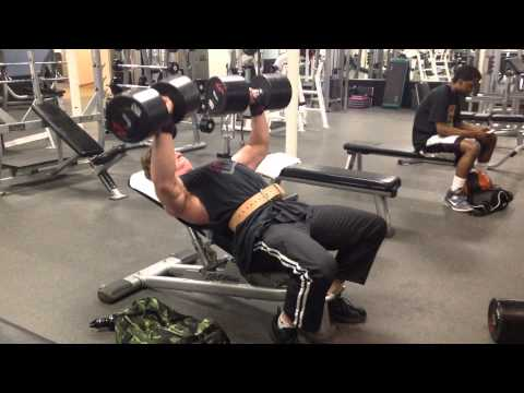 Incline dumbbell press 150lbs for 8