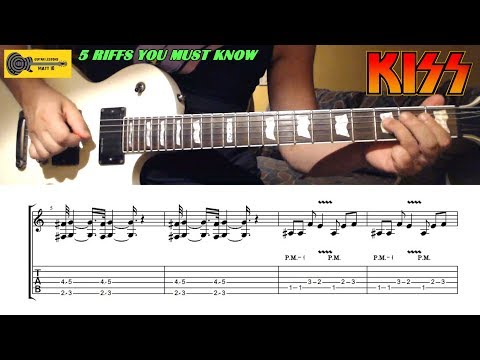 KISS RIFFS - 5 Kiss Guitar Riffs You Must Know With TABS