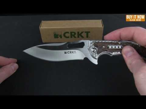 "CRKT Ikoma Fossil Small Folding Knife (3.41"" Satin Plain) 5460"