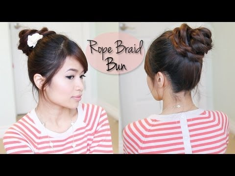 Everyday Rope Braid Bun Updo Hairstyle for Medium Long Hair Tutorial