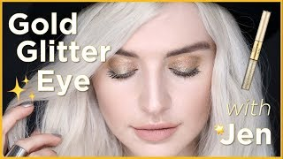 how to rock a gold glitter eye with Jen