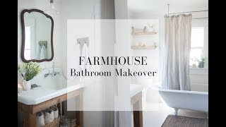 Farmhouse Bathroom Makeover- Decorate With Me- Farmhouse Style