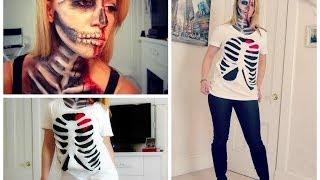 DIY Halloween Skeleton Rib Cage Shirt! - YouTube