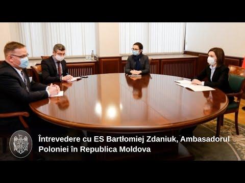 Președintele Maia Sandu a avut o întrevedere cu ES Bartłomiej Zdaniuk, Ambasadorul Poloniei în țara noastră