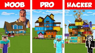 Minecraft NOOB vs PRO vs HACKER: HELLO NEIGHBOR HOUSE BUILD CHALLENGE in Minecraft / Animation
