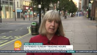 Sue Jameson explains George Osbourne's new budget to allow businesses to open for longer on Sundays.