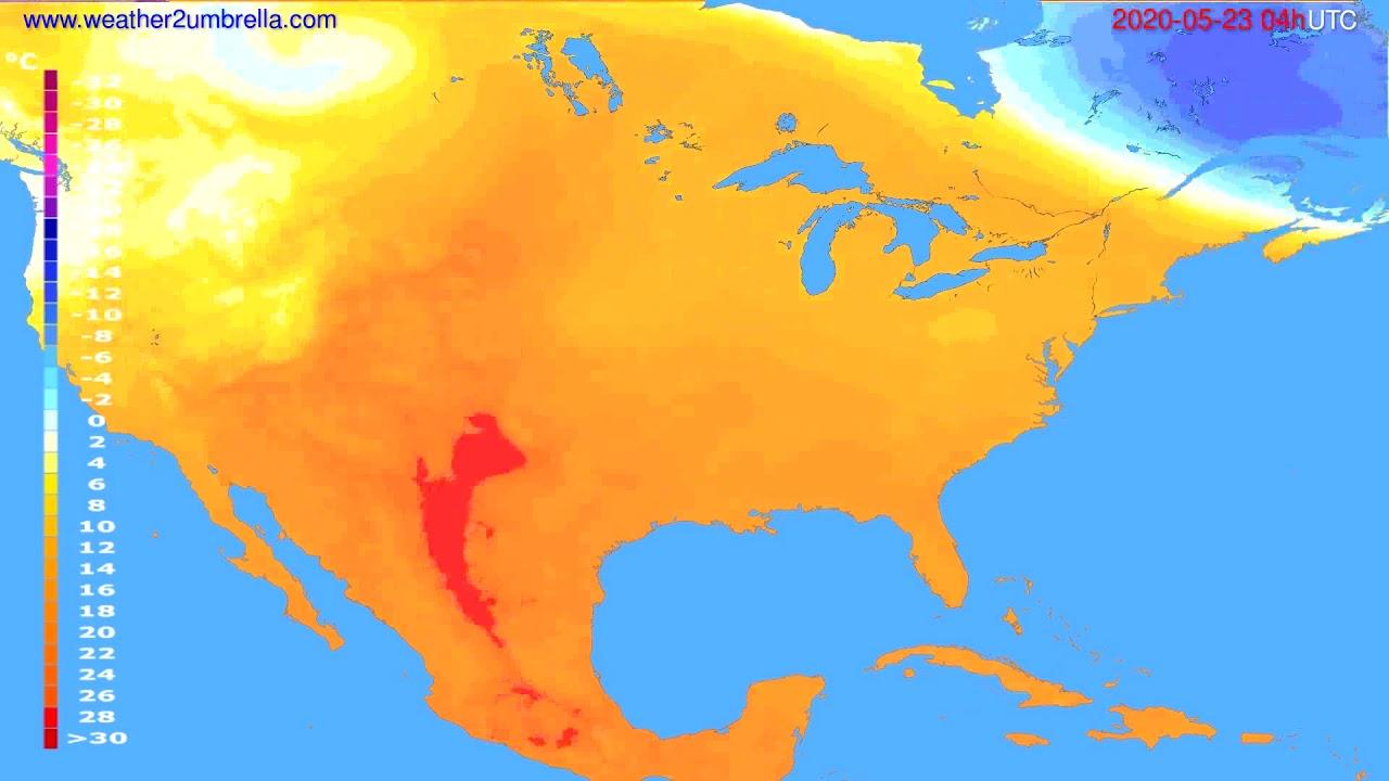 Temperature forecast USA & Canada // modelrun: 12h UTC 2020-05-22