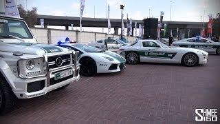 The world famous fleet of police cars from Dubai gather in the car park at the 2013 Grand Parade before leading the pack on a tour around the city. Heading u...