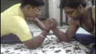 arm wrestling between me and varun(yellow t-shirt)