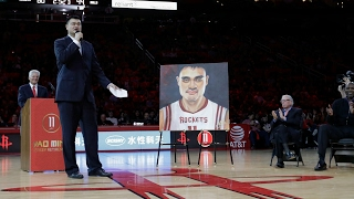 Houston Rockets' legend Yao Ming had his jersey retired this evening. Check out the entire halftime ceremony dedicated to the Chinese center!