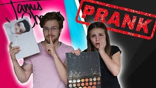 DESTROYING JAMES CHARLES PALETTE *FUNNY PRANK*  She Cries (W/ Piper Rockelle)