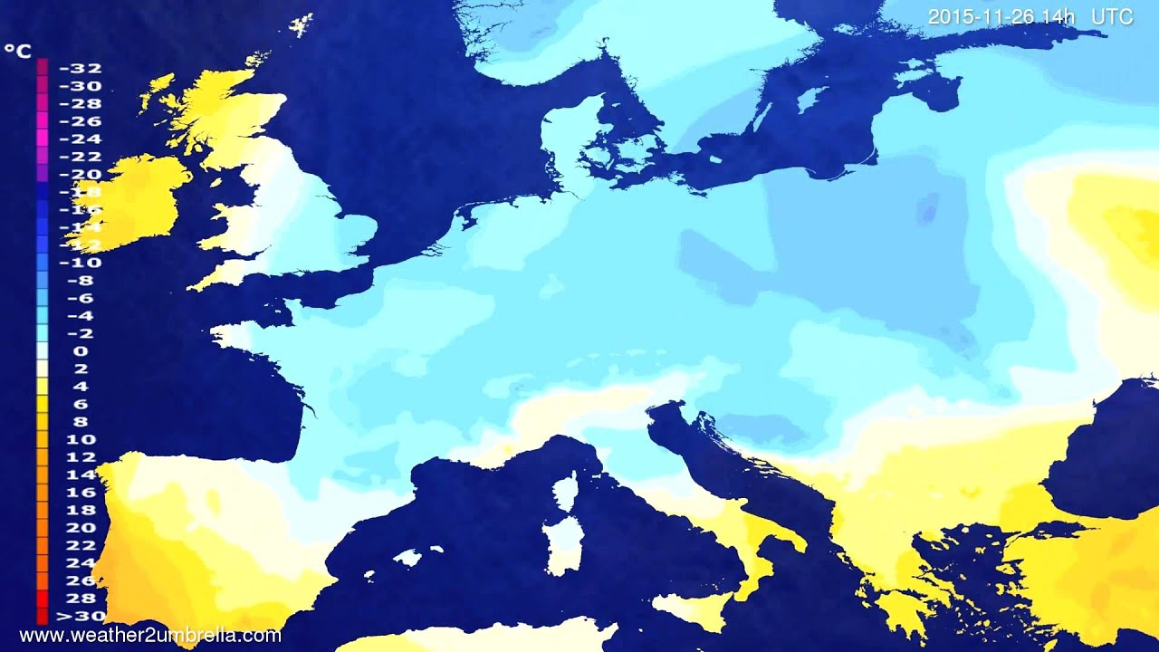 Temperature forecast Europe 2015-11-22