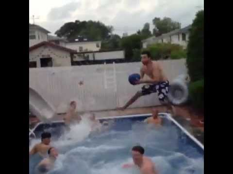 Congratulations to these guys for pulling off an amazing 10-man pool basketball alley-oop.