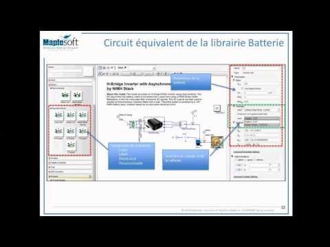 Bibliothèque Batterie MapleSim : Modélisation Dynamique de batteries, et Vehicule Electrique et Hybrique Electrique dans un environnement