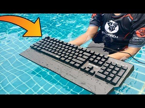 คียบอร์ดเกมมิ่งเกียร์โยนลงสระว่ายน้ำ!! Fantech MK882