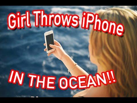 Girl throws guys iPhone IN THE OCEAN!! (PRANK GONE WRONG)